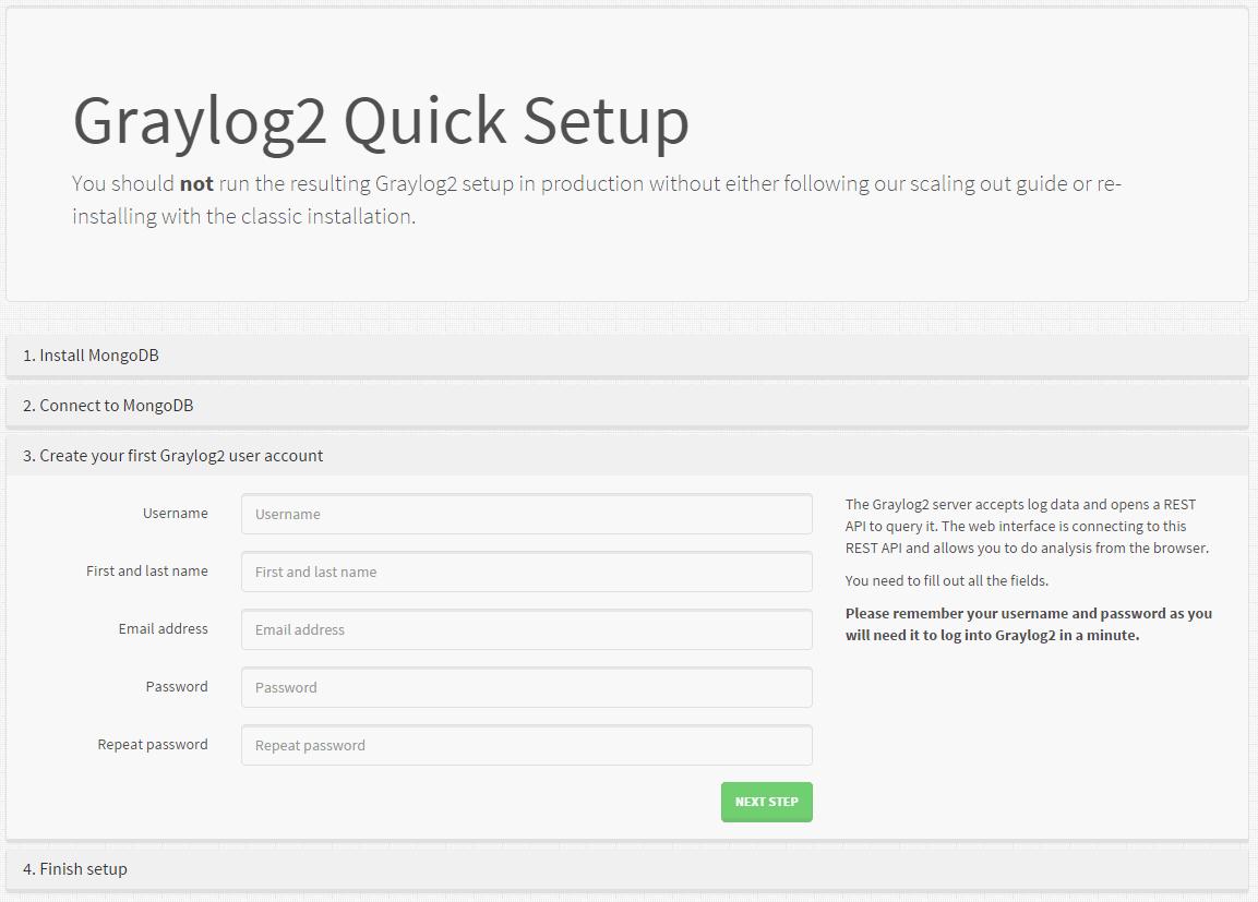 Etape 3 de l'outil Graylog2 Quick Setup
